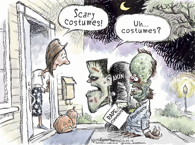 Scary costumes! Uh � Costumes? Akin. Mourdock. Rape Comments.