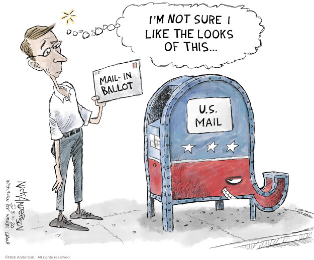 Im not sure I like the looks of this … Mail-in ballot. U.S. Mail.