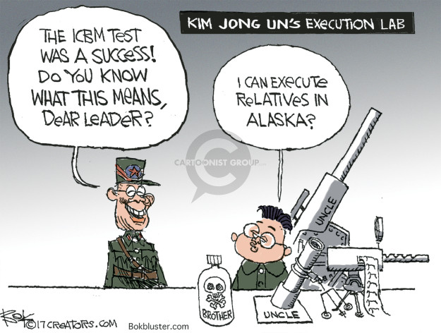 Kim Jong Uns Execution Lab.  The ICBM test was a success!  Do you know what this means, dear leader?  I can execute relatives in Alaska?  Brother.  Uncle.  Uncle.