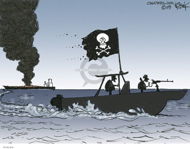 (No caption.) A boat flying a pirate flag with the image of Ayatollah Ali Khamenei  is seen leaving the scene of the attack on an American oil tanker.