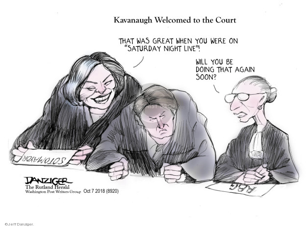 Kavanaugh Welcomed to the Court. That was great when you were on Saturday Night Live! Will you be doing that again soon? RBG. Sotomayor.