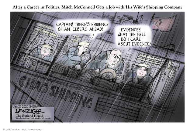 After a Career in Politics, Mitch McConnell Gets a Job with His Wifes Shipping Company. Captain! Theres evidence of an iceberg ahead! Evidence? What the hell do I care about evidence? Chao shipping.