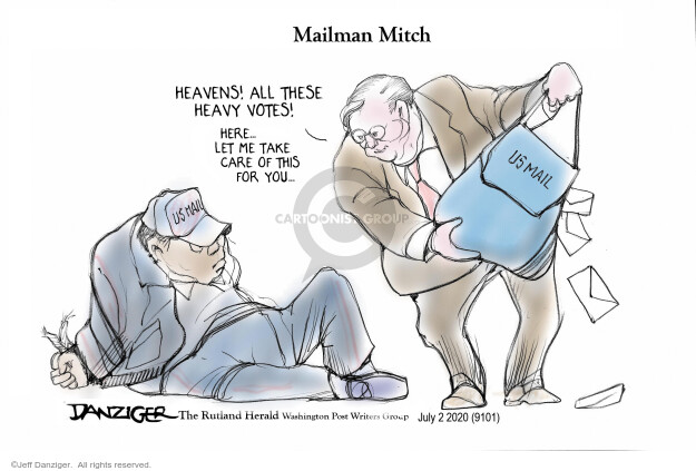 Mailman Mitch. Heavens! All these heavy votes! Here … let me take care of this for you … US Mail.