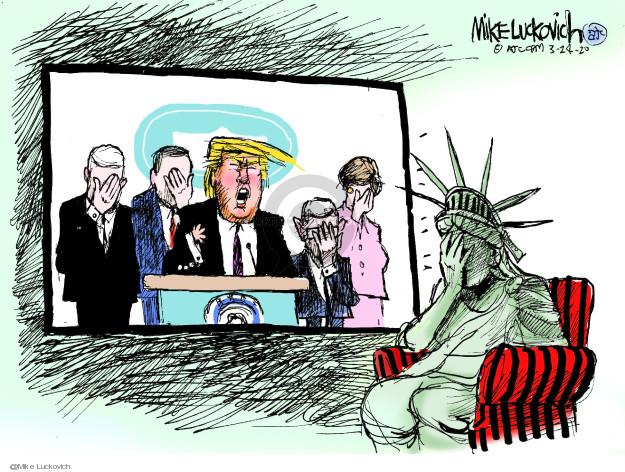 No caption (Lady Liberty covers her face as Donald Trump speak on television. He is surrounded by others also covering their face in embarrassment).