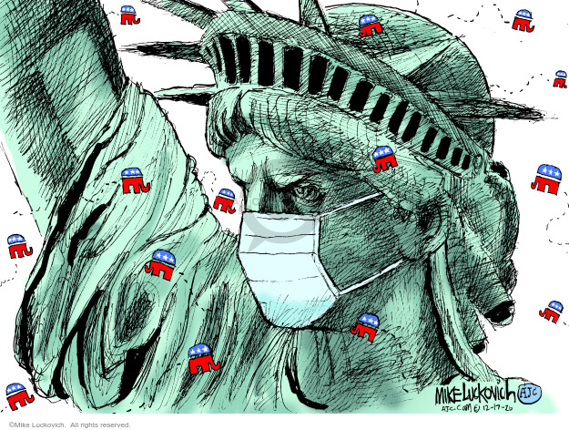 No caption (The Statue of Liberty is shown wearing a mask and surrounded by small, GOP elephant logos).