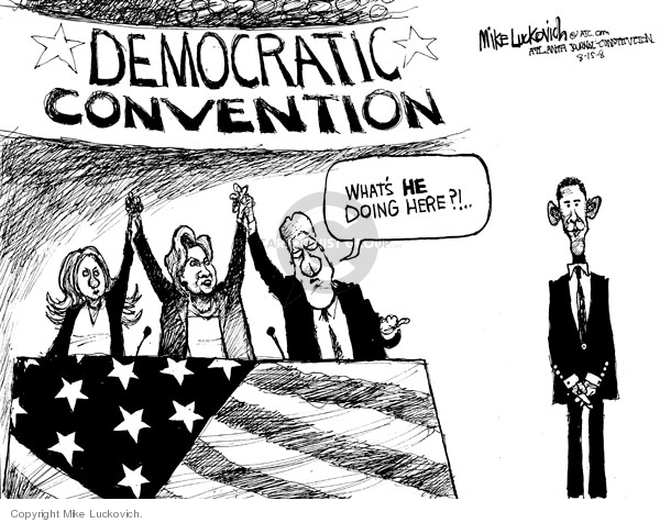 Democratic convention. Whats he doing here?!
