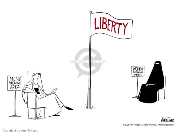 Liberty.  Mens Viewing Area.  Womens Viewing Area.