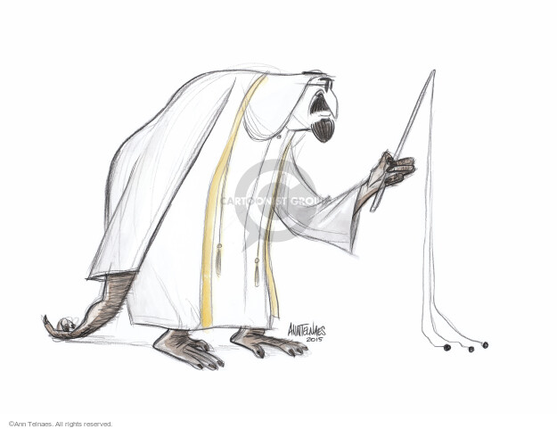 No caption. (A Saudi man, with appendages resembling an ape, holds a flogger).