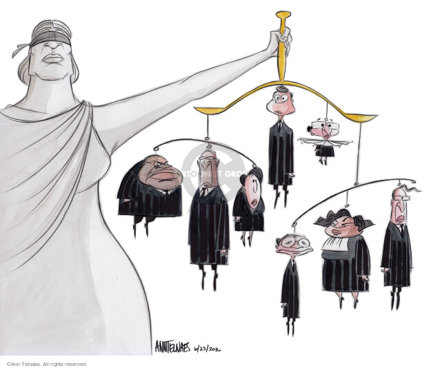 No caption (Lady Justice holds her scales from which the eight current Supreme Court justices hang as a mobile.)