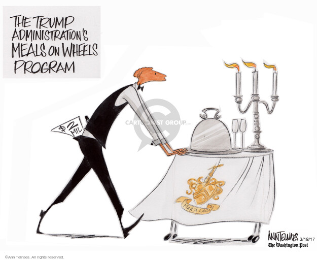 The Trump administrations Meals on Wheels program. $2 mil. Mar A Lago.