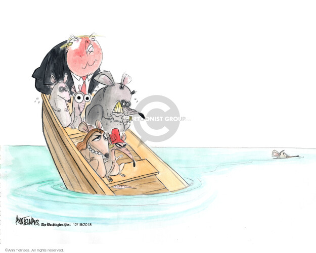 No caption (President Donald Trump is in a sinking boat with supporters who are illustrated as rats. One rat is swimming away).