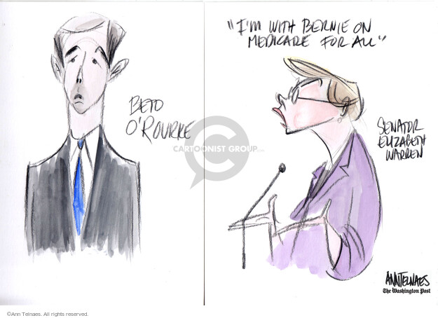 Beto O Rourke. Im with Bernie on Medicare for all. Senator Elizabeth Warren.  (Live sketch for the June 26, 2019 Democratic debate.)